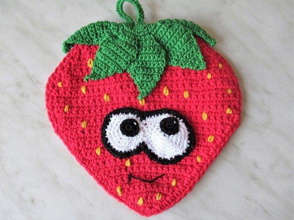 Häkelanleitung Topflappen Erdbeere