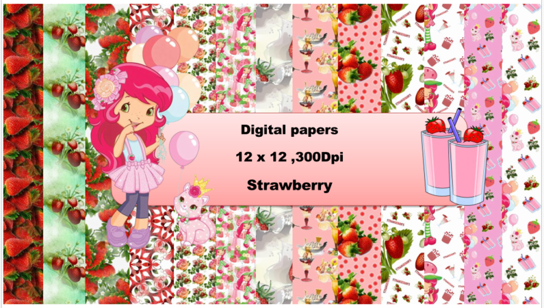 Strawberry digital paper pack