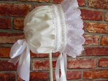 Bonnet with frills for girls, boys, toddler, children, christening luxury, bonnet baptism. Seven sizes.