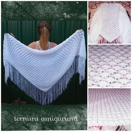 Triangular shawl crochet pattern shalws PDF english-deutsch-dutch ternura amigurumi