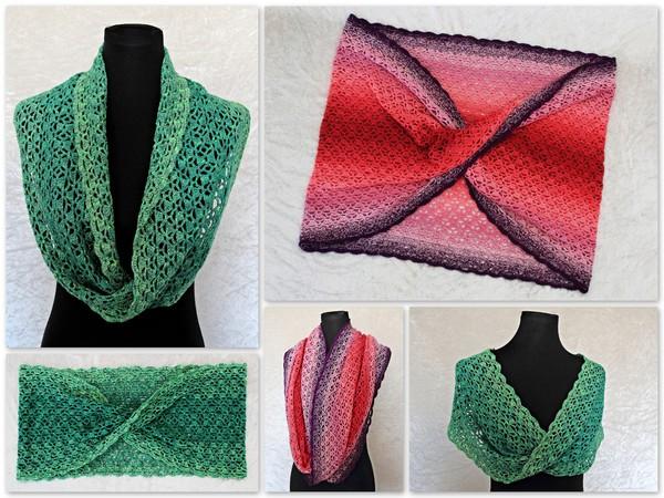 Loop häkeln / Möbius-Schal mit Borte häkeln