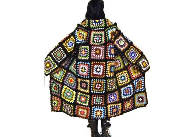Crochet Pattern Oversized Multicolor Retro Coat With Hood Us