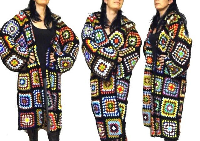 crochet paTTern *oversiZed multicolor reTro COAT with HOOD* us-english, crochet coat