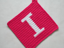 "Letter ""I"" Potholder Crochet Pattern - for beginners"