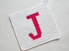 "Letter ""J"" Potholder Crochet Pattern - for beginners"