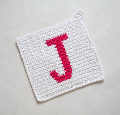 Letter J Potholder Crochet Pattern For Beginners