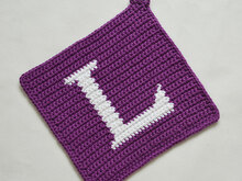 "Letter ""L"" Potholder Crochet Pattern - for beginners"