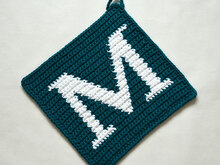 "Letter ""M"" Potholder Crochet Pattern - for beginners"