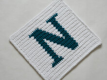 "Letter ""N"" Potholder Crochet Pattern - for beginners"