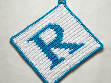 "Letter ""R"" Potholder Crochet Pattern - for beginners"