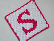 "Letter ""S"" Potholder Crochet Pattern - for beginners"