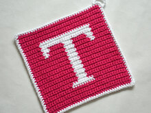 "Letter ""T"" Potholder Crochet Pattern - for beginners"