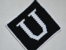 "Letter ""U"" Potholder Crochet Pattern - for beginners"