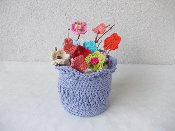 Häkelanleitung Korb, Vase, kleine Schale und Häkelblumen