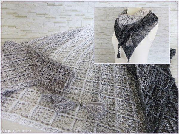 Dreieckstuch häkeln /// Quadrat-Relief-Muster