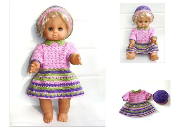Puppenkleidung Rosalie 40 Cm Häkeln Kleid Hut Schuhe Schleife