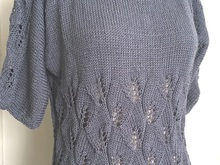 Shades of Grey Summer Top - Knitted with Lace Eyelet pattern on body and 3/4 Sleeves