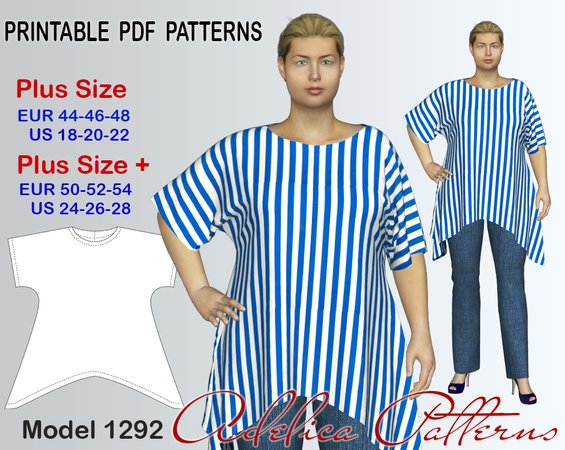Plus size Loose-Fit Tunic Sewing Pattern