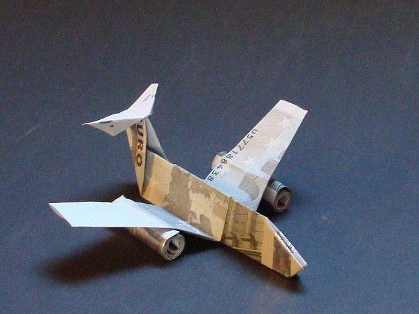 Origami Geldschein Flugzeug