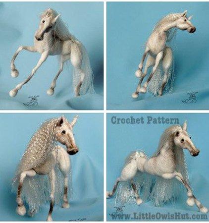 043 Crochet Pattern - Horse White Dream with wire frame - Amigurumi PDF  file by Pertseva CP