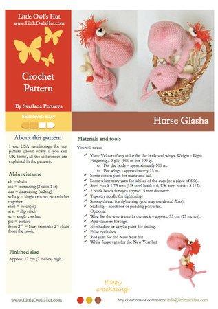 040 Crochet Pattern - Horse Glasha - Amigurumi Toy PDF file by Pertseva CP