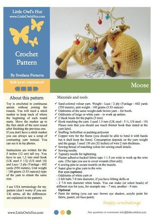 027 Crochet Pattern - Moose toy with wire frame - Amigurumi PDF file Christmas pattern by Pertseva CP
