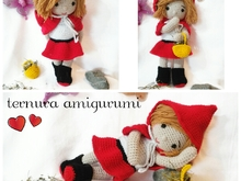 Crochet pattern of doll Sarah little Red Riding Hood PDF english-deutsch-dutch ternura amigurumi