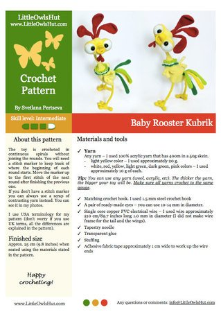 132 Crochet Pattern - Baby Rooster Kubrik with wire frame ...