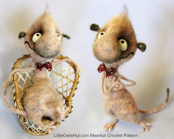 092 Crochet Pattern - Funny Meerkat with wire frame - Amigurumi PDF file by Pertseva CP