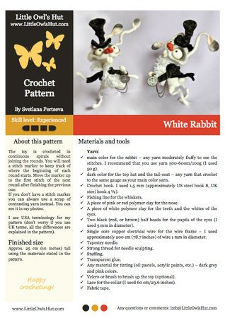 111 Crochet pattern - White Rabbit - Amigurumi PDF file by Pertseva CP