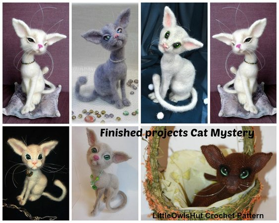 093 Crochet Pattern - Cat Mystery with wire frame - Amigurumi PDF file by Pertseva CP