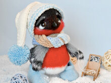 203 Crochet Pattern - Bullfinch with Hat and Scarf - Amigurumi soft toy PDF file by Ogol CP