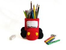 Crochet pattern for pencil holder car PDF english- deutsch-dutch ternura amigurumi