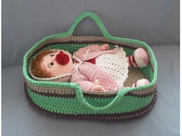 Puppen Tragetasche Häkeln Mit Zubehör