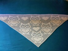 "Triangular Shawl ""lovely Owls"""