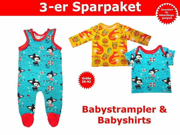 Schnittmuster Baby Shirt & Baby Strampler - inkl. Nähanleitung
