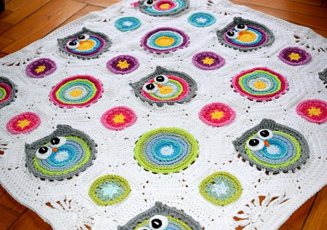 "Crochet baby blanket "" Wisy Busy Owl "" , baby throw, crochet nursery"
