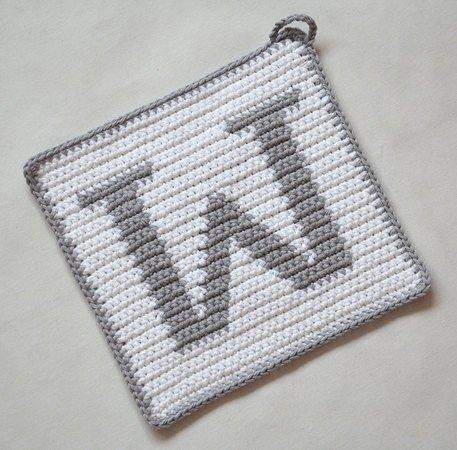 Letter W Potholder Crochet Pattern For Beginners