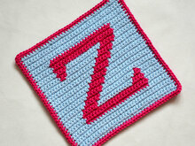"Letter ""Z"" Potholder Crochet Pattern - for beginners"