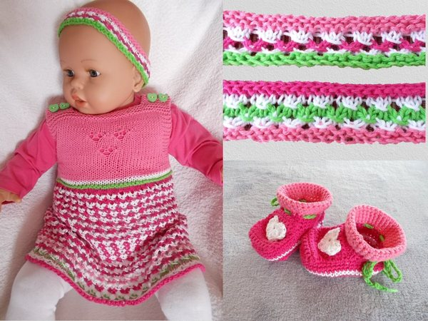 Babykleid mit Lochmuster plus Schuhe und Stirnband - Strickanleitung
