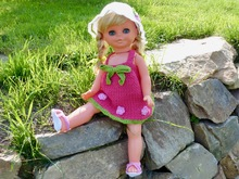 "Summer dress ""Peaches"", doll clothes for 15 inch, 17 inch and 19 inch dolls, suitable for beginners, crochet pattern"