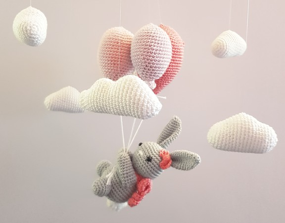 Babymobile häkeln // Hase / Ballon / Wolken
