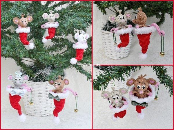 Weihnachtsdeko Häkeln Maus In Nikolausmütze
