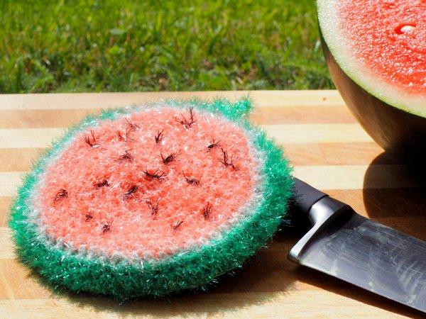 Melone Spülschwamm Häkelanleitung