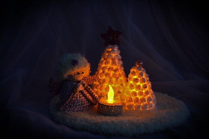 Beleuchtete Bilder Weihnachten.Beleuchtete Winterlandschaft Mit Engel Christbaum Stimmungsvolle Deko Weihnachten