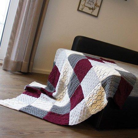 patchwork decke stricken warme decke. Black Bedroom Furniture Sets. Home Design Ideas
