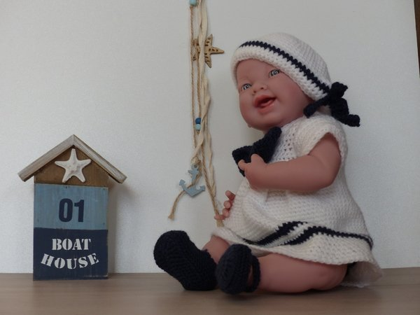 "Sailor dress ""Mary"", doll clothes for dolls from 12"" to 19"", suitable for beginners, crochet pattern"