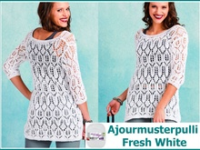 Ajourmusterpulli Fresh White stricken mit Woolly Hugs BANDY