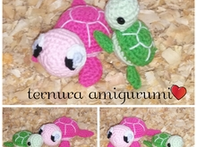 Haakpatroon van de schildpadfamilie PDF english- deutsch- dutch by ternura amigurumi
