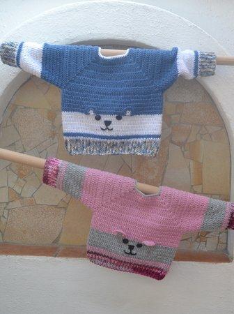 Häkelanleitung * Baby Pullover * Bär Applikation * 3 Größen